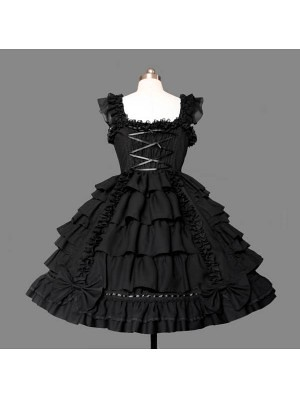 black lace gothic lolita dress