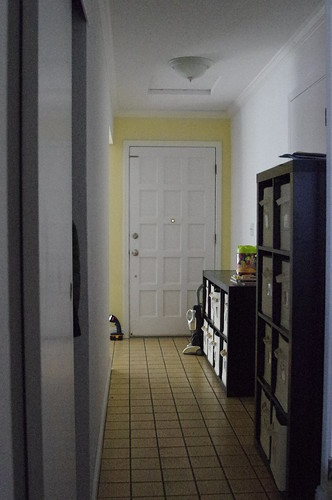 Hallway facing front door, standing with the kitcen behind me. Closet on the left.