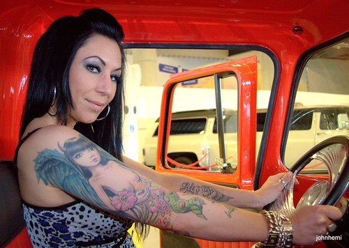 tattoo model Martina in the chevy truck