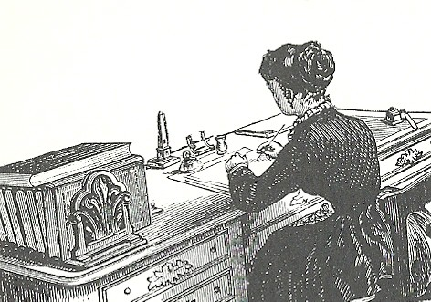 Woman at desk. Clip Art / Copy Free Art from the 1800's. Used to illustrate a 2012 book review of Shirley by Charlotte Bronte.