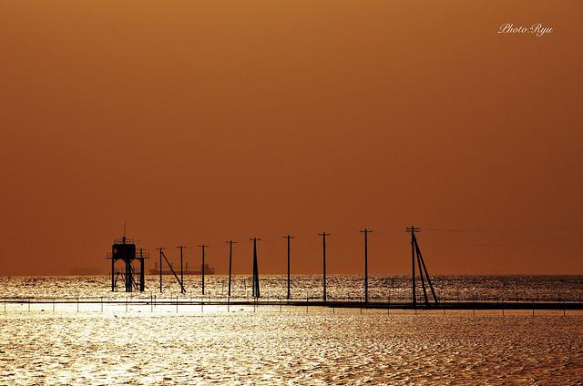 江川海岸 海中電柱