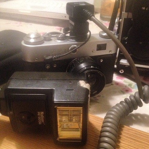 The setup; #fed3 with a cheap old flash on full power attache to a #nikon flash cord plugged into a cold-hotshoe adapter.