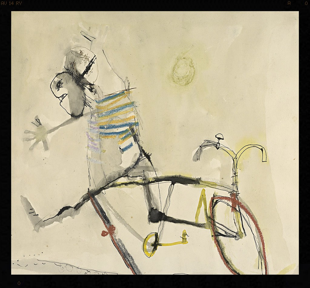ohn Olsen born Australia 1928, lived in Europe 1956–60, 1965–67 Drawing for The bicycle boys rejoice 1954–55 pen, ink and pastel Collection of the Reverend Ian Brown, Melbourne © John Olsen, administered by Viscopy, Sydney