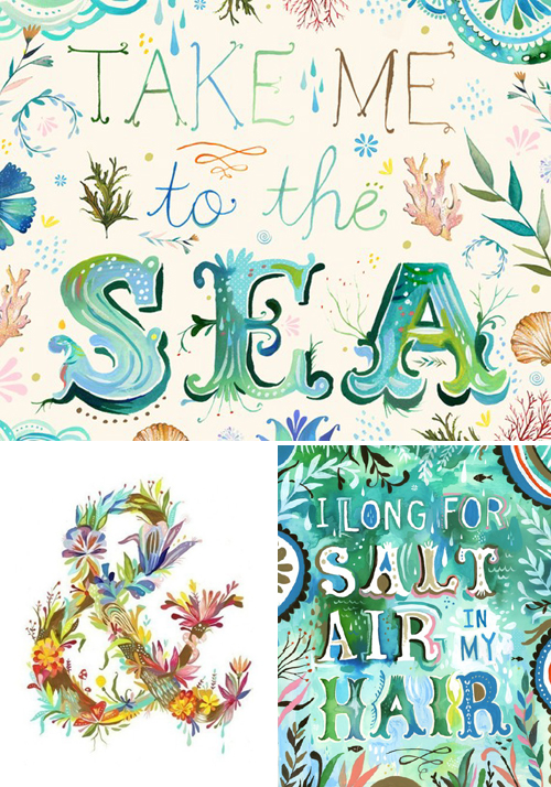Take Me To The Sea, Land of Ampersand and Salt Air Hair art prints by The Wheatfield | Emma Lamb