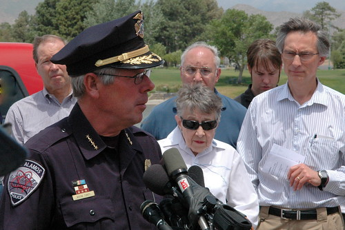 Wayne Torpy, chief of police, at news conference, Los Alamos, June 30, 2011
