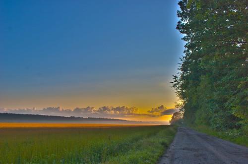 road sunrise dawn hiking trail hdr restless villerslaville
