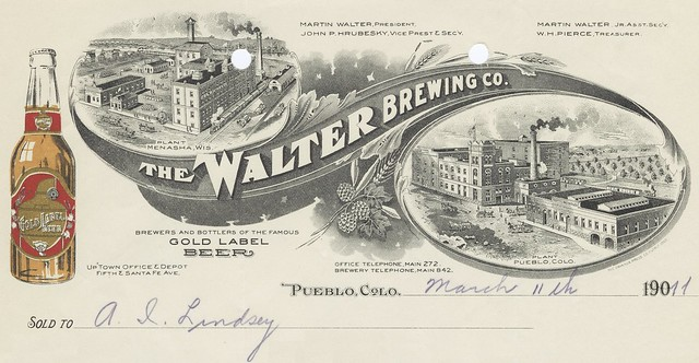 colorado beer company business letterheaded receipt
