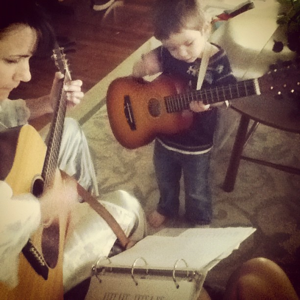 Playing the guitar with Memaw is one of his absolute favorite things. :)