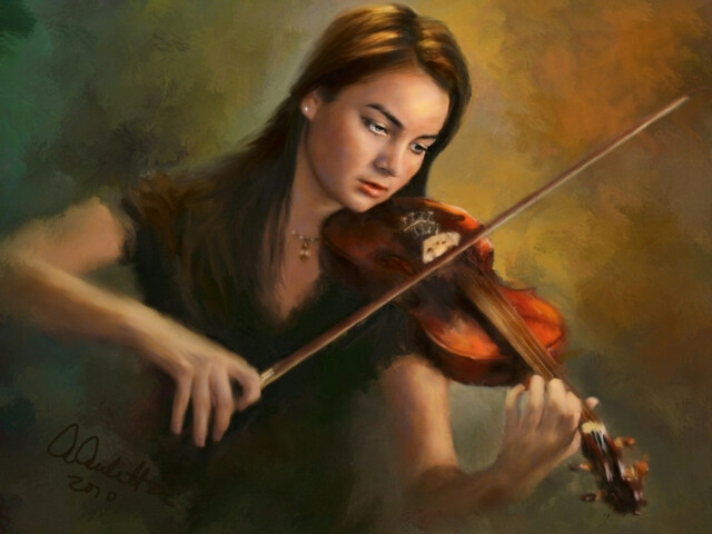 Abstract, Painting, People, -Girl Playing Violin For Luna ...