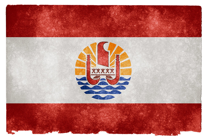 French Polynesia Grunge Flag