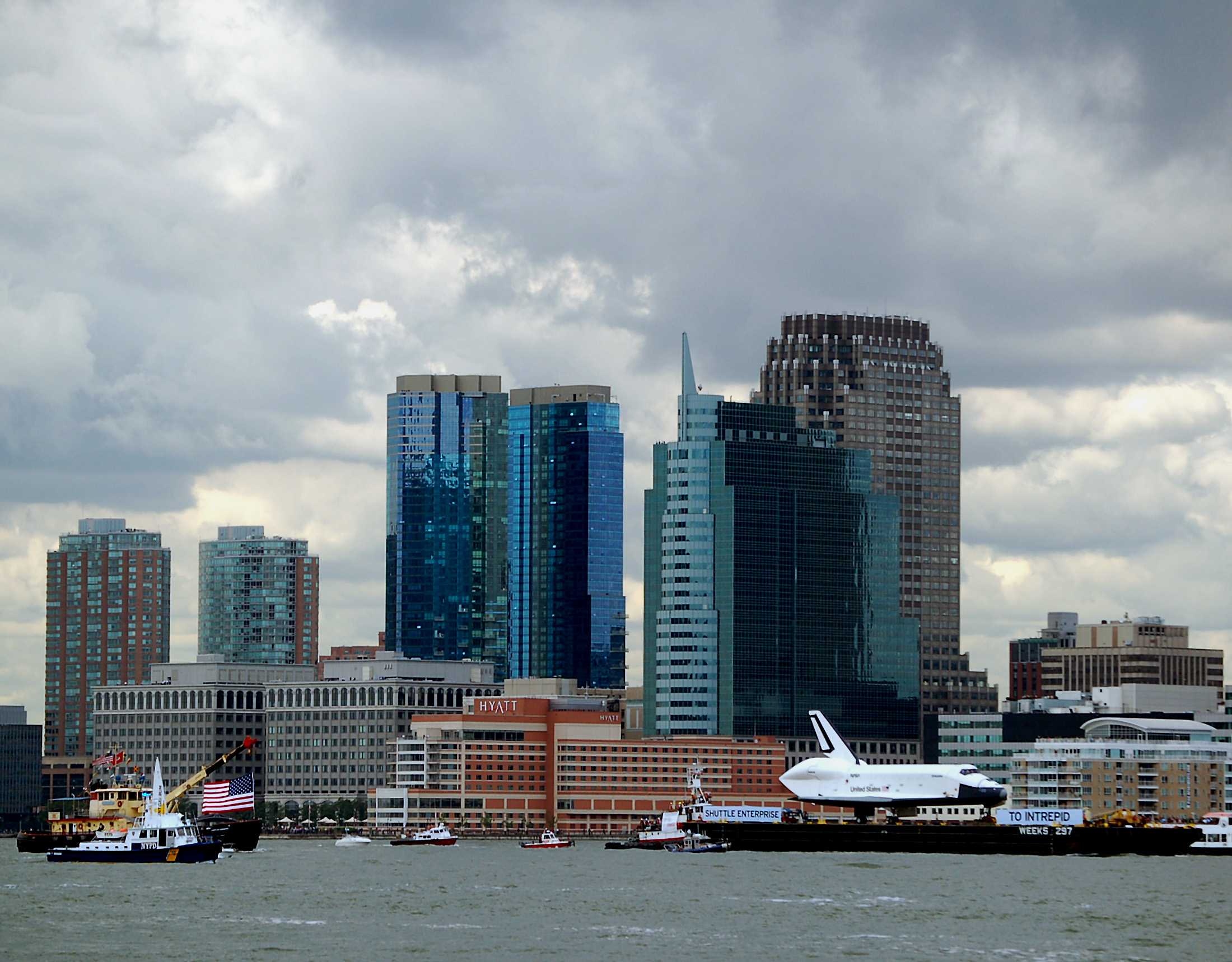 Space Shuttle Enterprise sails up the Hudson