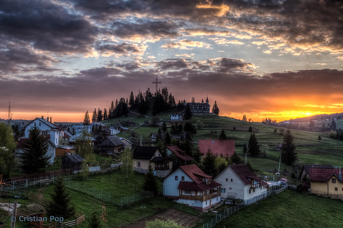 sunrise landscape big europe cross hill romania tihuta piatrafantanele