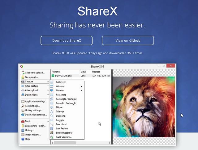 ShareX - программа для взятия скриншотов