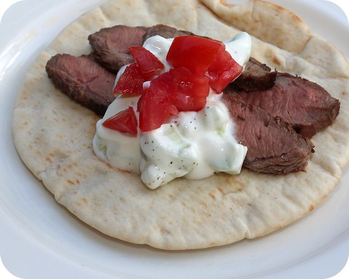 Grilled Flank Steak with Cucumber Yogurt Sauce