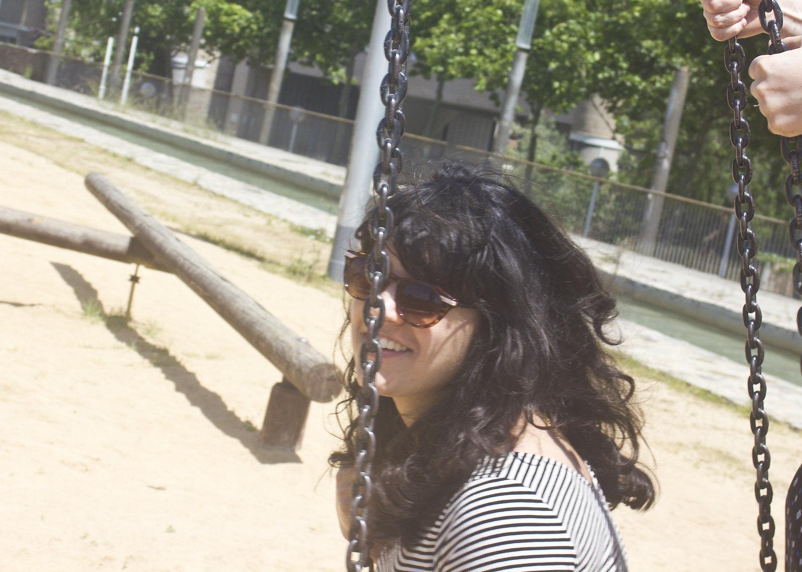 laila on swings in barcelona