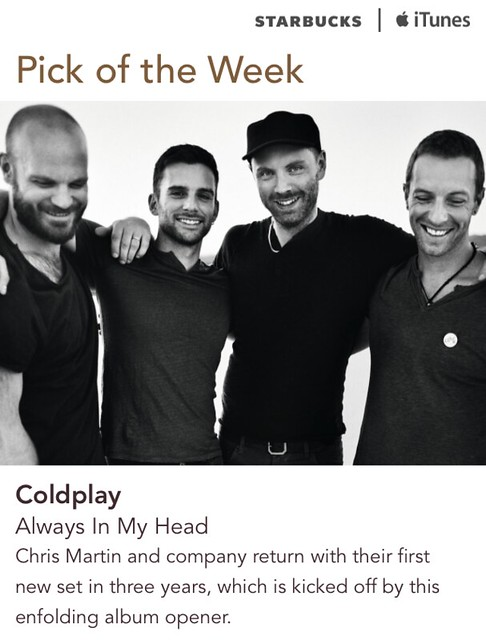 Starbucks iTunes Pick of the Week - Coldplay - Always In My Head