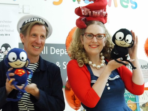 Authors of 'Oliver and the Seawigs' - Philip Reeve and Sarah McIntyre and the Sea Monkeys