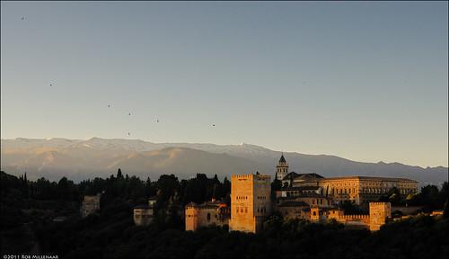 sunrise dawn spain scenery alhambra granada moring