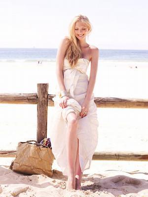 short strapless beach wedding dress