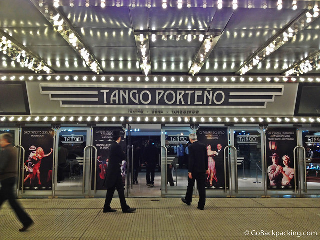 Walking into the Tango Porteno theater