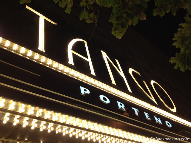Marquee for the Tango Porteno dinner show