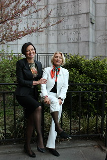 "Heidi Kuhn, CEO of Roots of Peace and Agnès Marcaillou, Director of UNMAS join ""Lend Your Leg"" campaign"