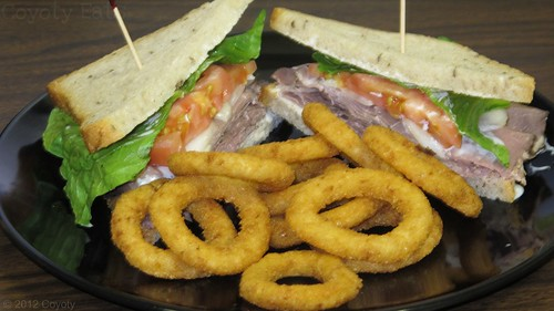 Roast beef, ranch, and 'radish on rye, and rings by Coyoty