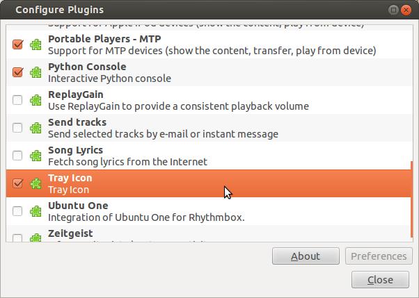 Edit Plugins in Rhythmbox