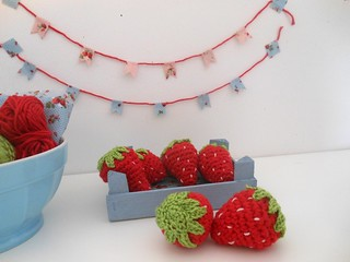 Washi tape bunting and strawberry crochet