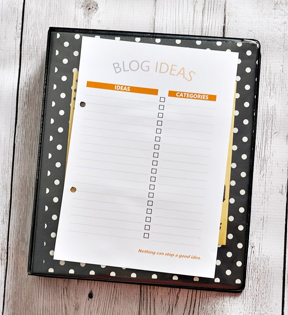 Free Blog Ideas Printable | www.fussfreecooking.com