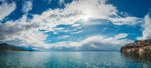 blue winter sky panorama sun lake water clouds landscape pano ngc macedonia ohrid waterscape македонија езеро охрид охридско d5200