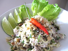 produce(0.0), tuna salad(0.0), salad(1.0), vegetable(1.0), food(1.0), dish(1.0), larb(1.0), cuisine(1.0),