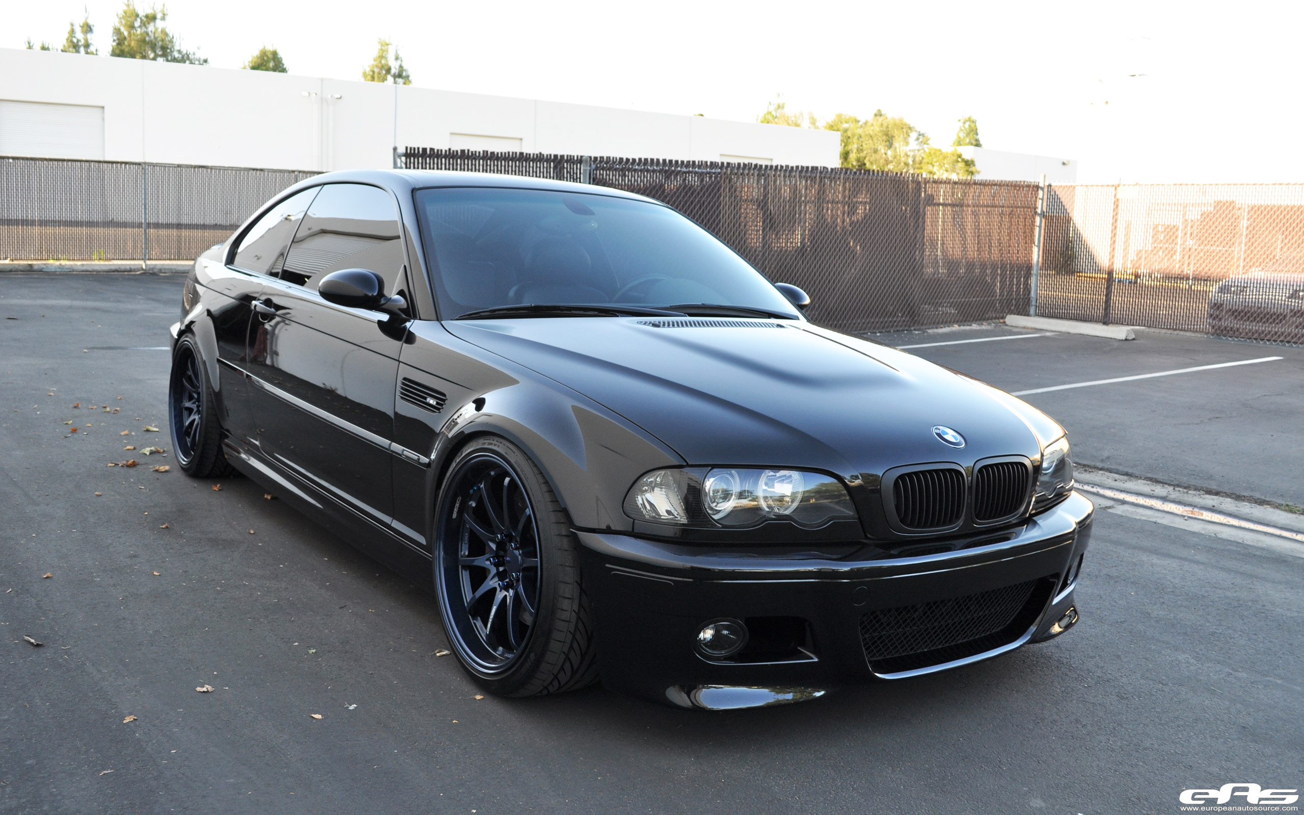 Black E46 M3 with Magnesium Blue Volk CE28 Wheels