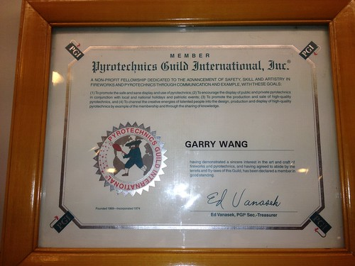 Pyrotechnics Guild International Certificate - Epic Fireworks China Trip 2012