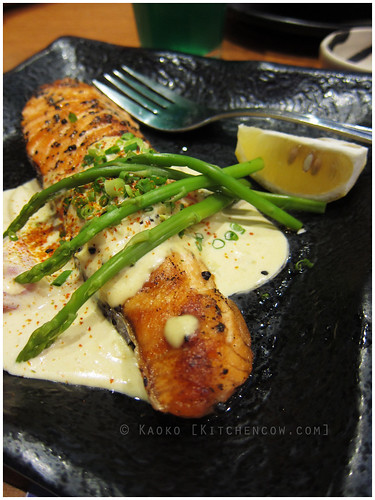 John and Yoko: Grilled Salmon with Wasabi Cream by kaoko