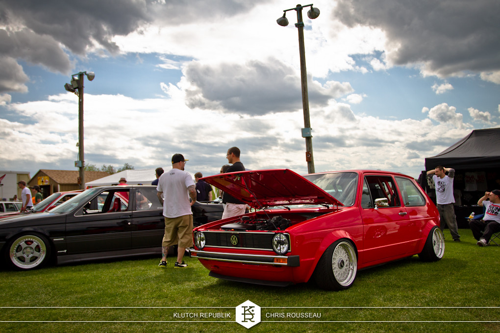 red mk1 vw rabbit on airride and bbs rs wheels at staggered 2012
