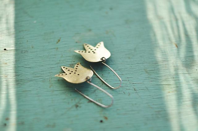 brass and silver flower earrings