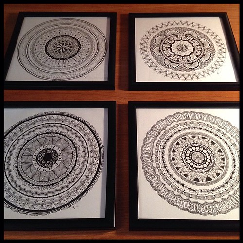 Set of Four Zendalas, framed (ZIAs 15, 16, 17, and 18)