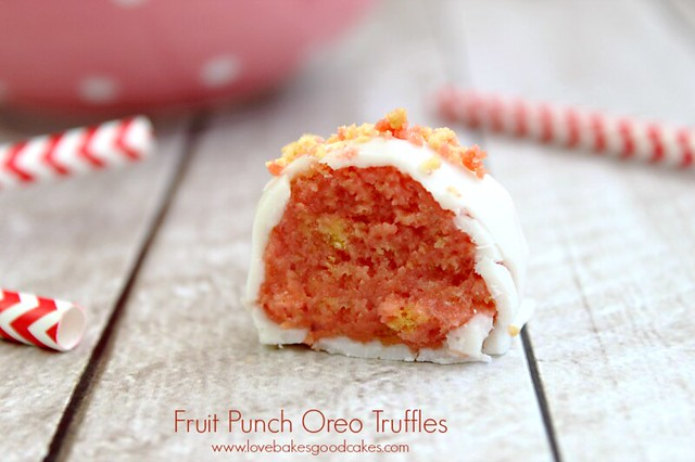 Fruit Punch Oreo Truffle cut in half close up.