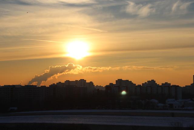 Sonnenuntergang über dem Märkischen Viertel