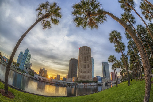 reflection skyline sunrise tampa effects florida beercan processing nik hdr hillsboroughriver photomatix sykesbuilding rivergatebuilding