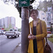 J. waiting at the bus stop on Denny. This was right after I lost a whole roll of film :(   Yashica Mat 124G | Portra 400