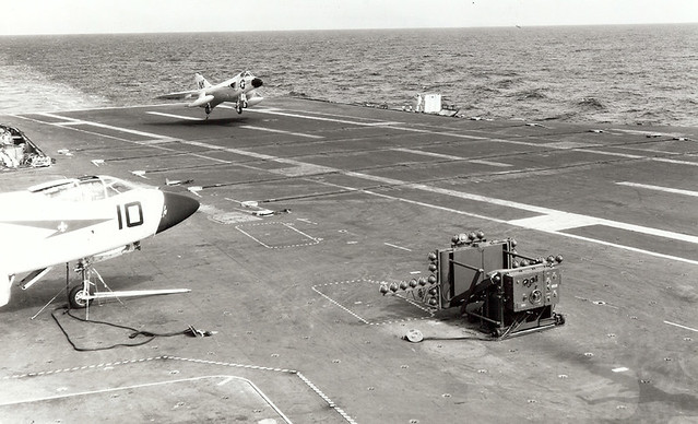 A Douglas F4D-1 Skyray of fighter squadron VF-141 Iron Angels, Carrier Air Group Fourteen (CVG-14) lands on the aircraft carrier USS Ranger (CVA-61) in 1959.