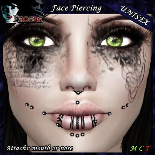 *P* Unisex Face Piercing ~ Serie P1 ~ Black