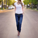 loose jeans and a white t-urban