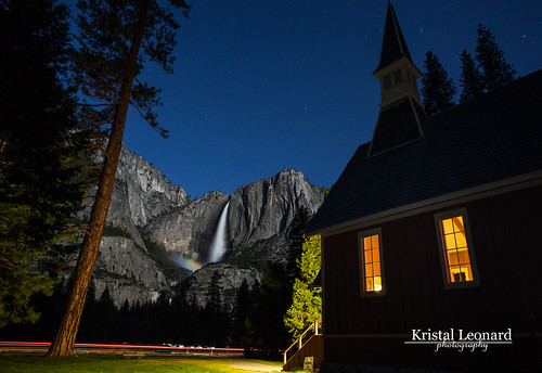 Yosemite Fall Moonbow and Chapel