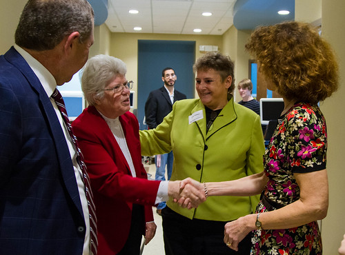 Sister Martin McEntee greets IU First Lady Laurie Burns McRobbie in Nursing Simulation Center