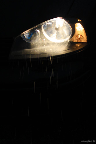 headlight in the rain