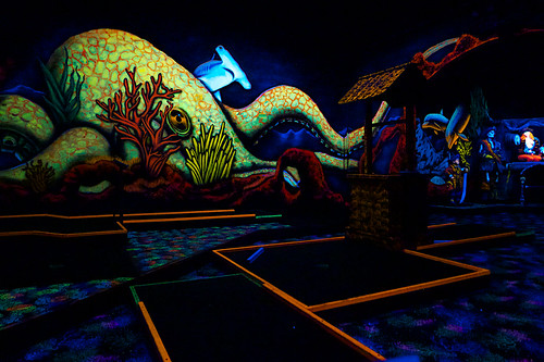 The Kraken mural at Pirate Glo Golf.