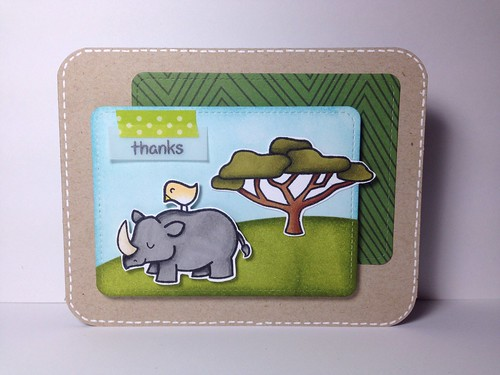"Lawn Fawn Rhino ""Thank You"" Card"